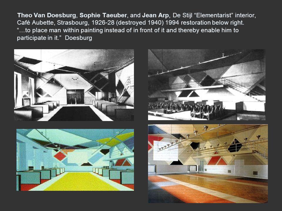 Theo Van Doesburg, Sophie Taeuber, and Jean Arp, De Stijl Elementarist interior, Café Aubette, Strasbourg, 1926-28 (destroyed 1940) 1994 restoration b