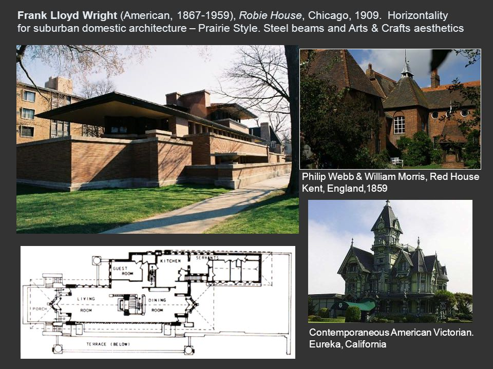 Frank Lloyd Wright (American, 1867-1959), Robie House, Chicago, 1909. Horizontality for suburban domestic architecture – Prairie Style. Steel beams an