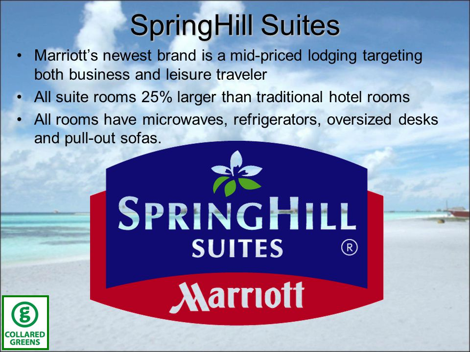 SpringHill Suites Marriotts newest brand is a mid-priced lodging targeting both business and leisure traveler All suite rooms 25% larger than traditional hotel rooms All rooms have microwaves, refrigerators, oversized desks and pull-out sofas.