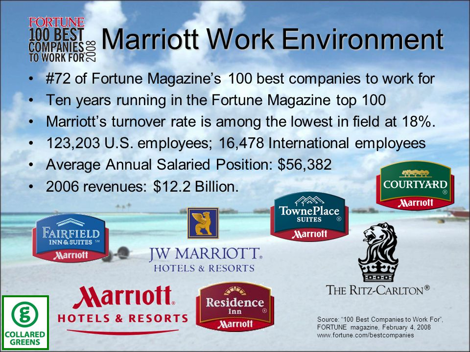 Marriott Work Environment #72 of Fortune Magazines 100 best companies to work for Ten years running in the Fortune Magazine top 100 Marriotts turnover rate is among the lowest in field at 18%.