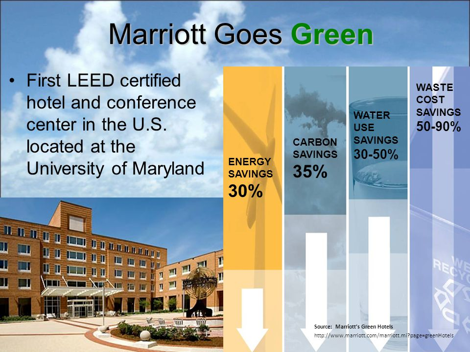 Marriott Goes Green First LEED certified hotel and conference center in the U.S.