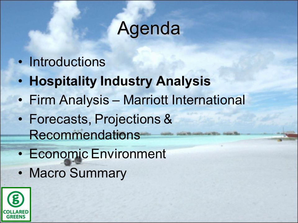 Description of Hospitality Industry –Globally a $3.5 Trillion Industry –Employing 13 M people in U.S.