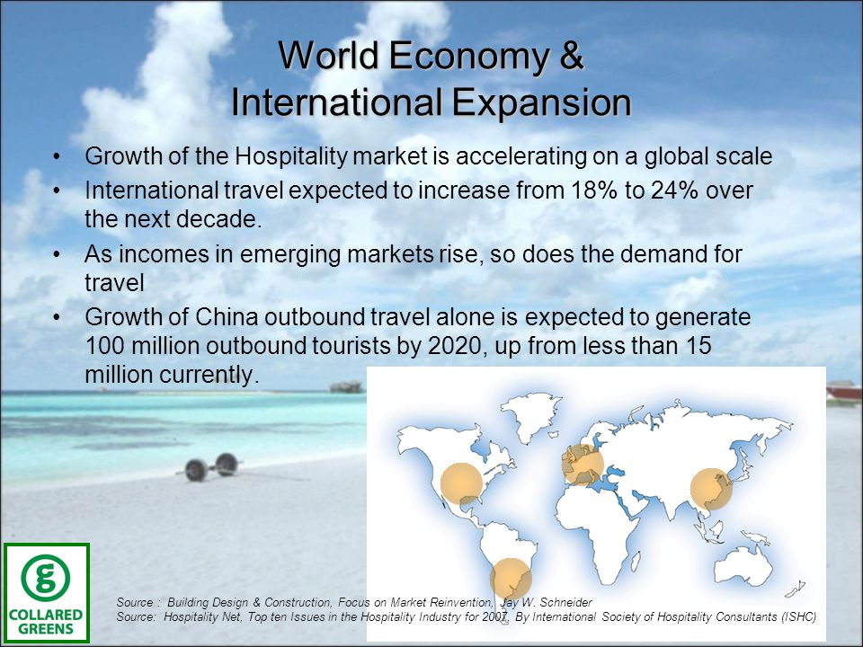 World Economy & International Expansion Growth of the Hospitality market is accelerating on a global scale International travel expected to increase from 18% to 24% over the next decade.