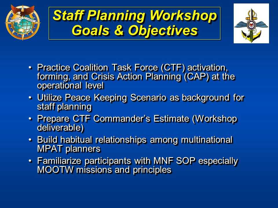 Practice Coalition Task Force (CTF) activation, forming, and Crisis Action Planning (CAP) at the operational levelPractice Coalition Task Force (CTF)