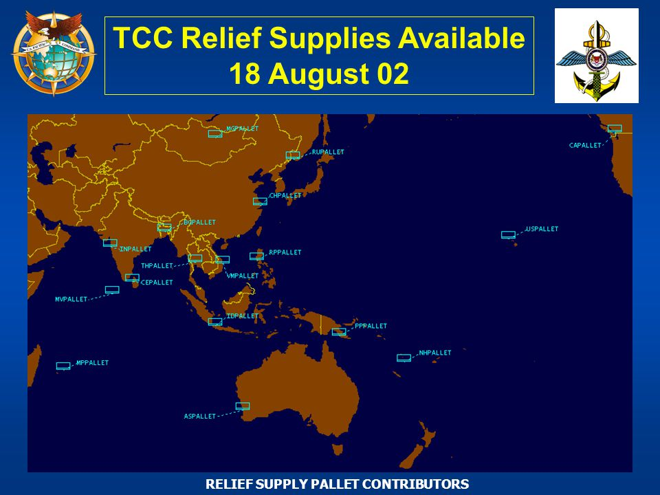RELIEF SUPPLY PALLET CONTRIBUTORS TCC Relief Supplies Available 18 August 02
