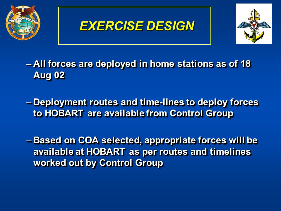 –All forces are deployed in home stations as of 18 Aug 02 –Deployment routes and time-lines to deploy forces to HOBART are available from Control Grou