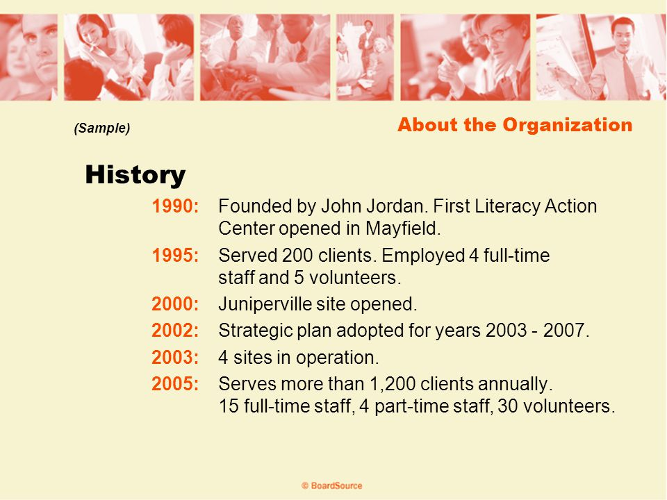 About the Organization History 1990:Founded by John Jordan.