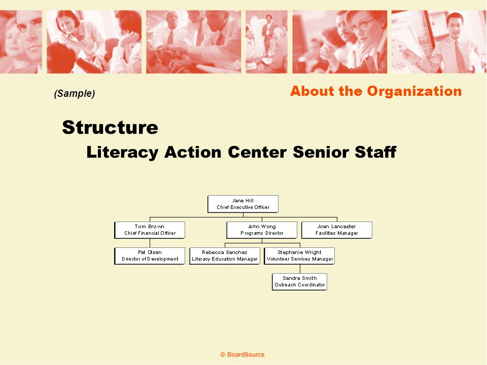 About the Organization Structure Literacy Action Center Senior Staff (Sample)