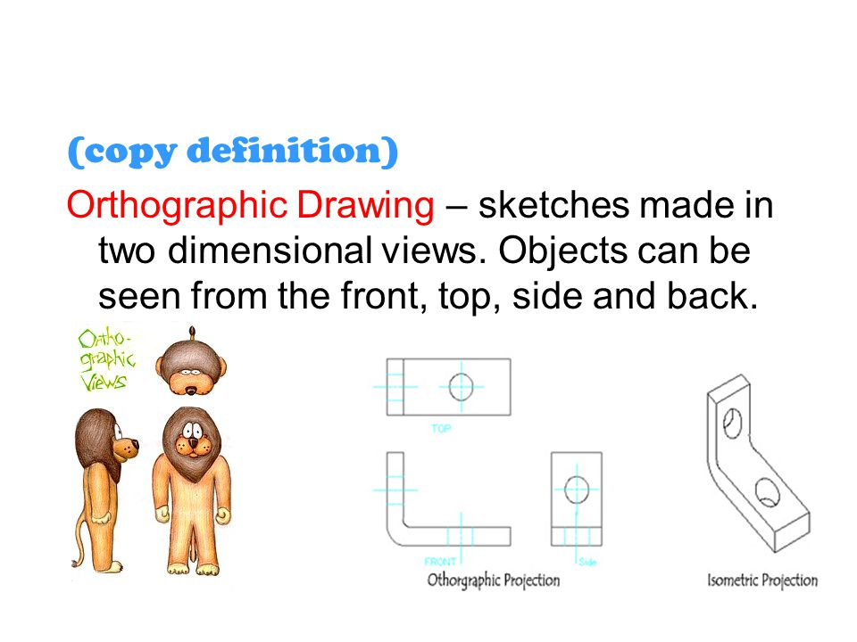 (copy definition) Orthographic Drawing – sketches made in two dimensional views. Objects can be seen from the front, top, side and back.