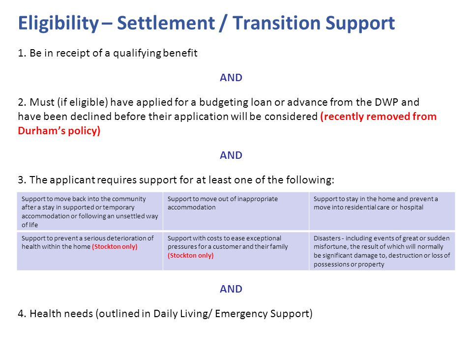 Eligibility – Settlement / Transition Support 1.Be in receipt of a qualifying benefit AND 2.