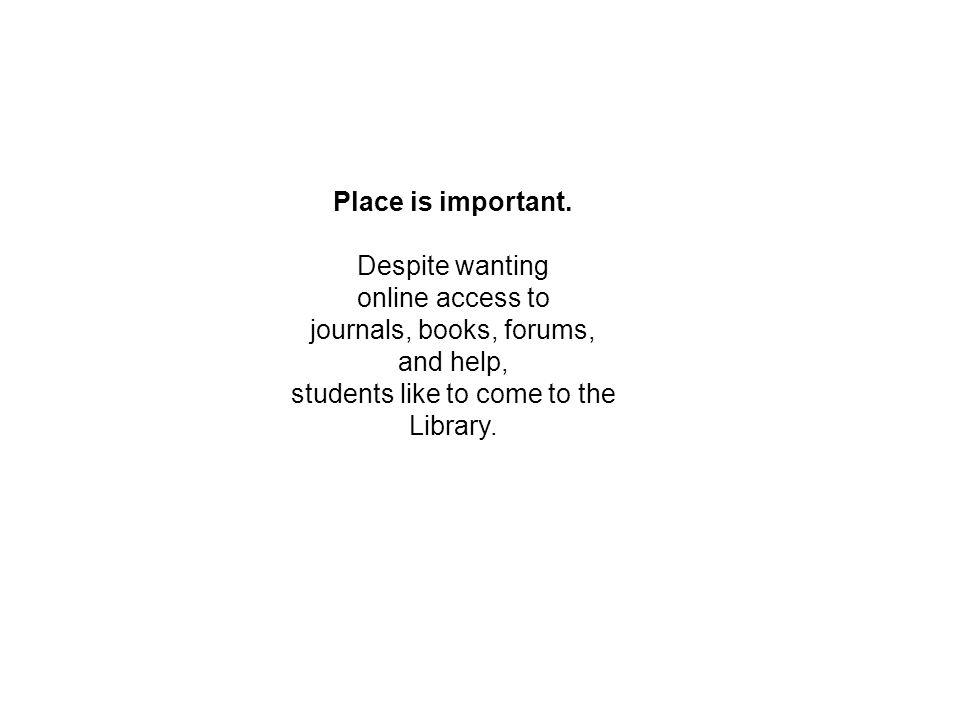 Place is important.