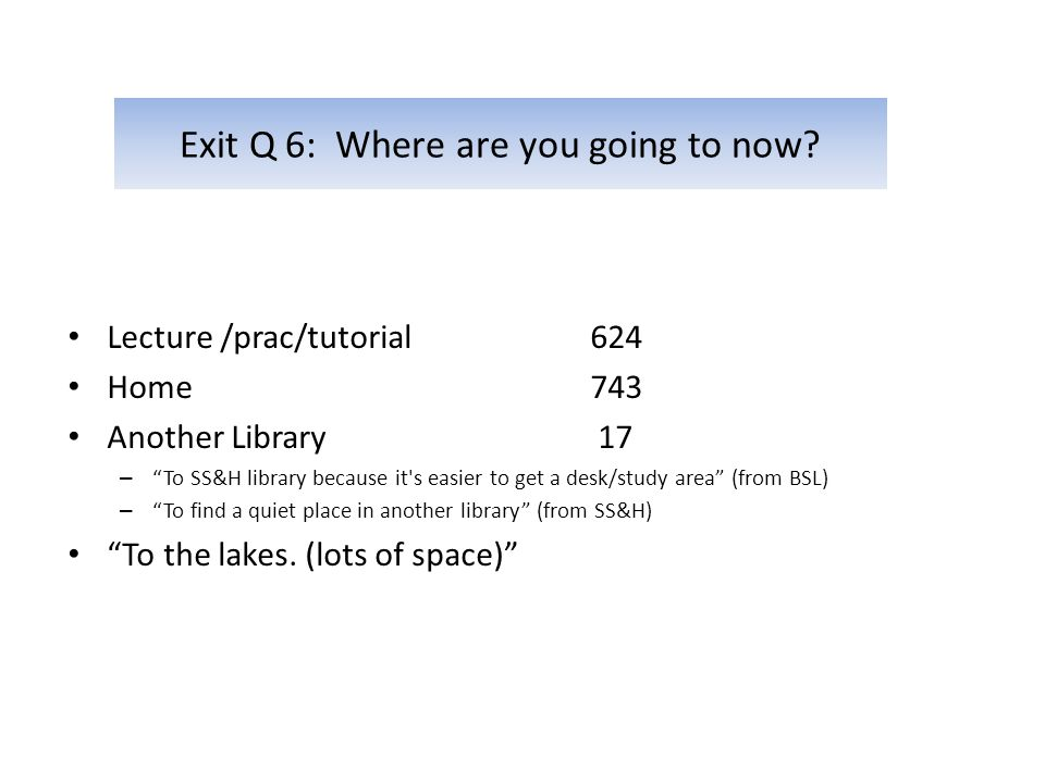 Exit Q 6: Where are you going to now.