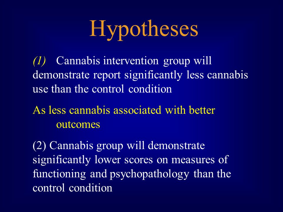 (1)Cannabis intervention group will demonstrate report significantly less cannabis use than the control condition As less cannabis associated with better outcomes (2) Cannabis group will demonstrate significantly lower scores on measures of functioning and psychopathology than the control condition Hypotheses
