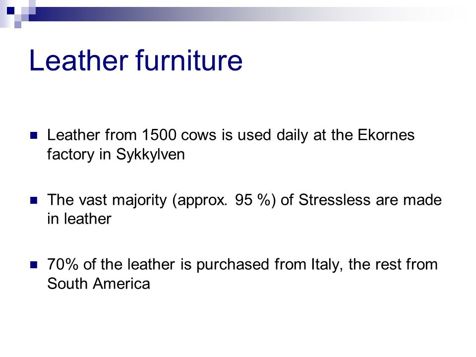 Leather furniture Leather from 1500 cows is used daily at the Ekornes factory in Sykkylven The vast majority (approx.