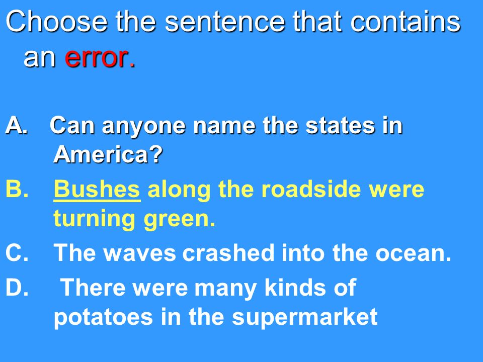 Choose the sentence that contains an error.A. Can anyone name the states in America.