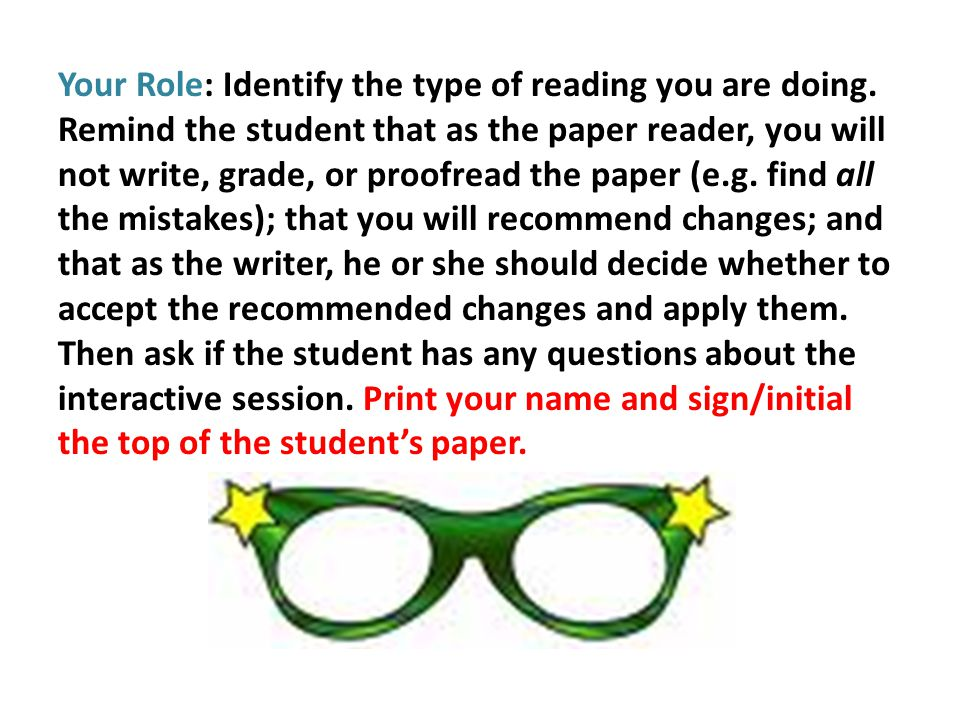 Your Role: Identify the type of reading you are doing.