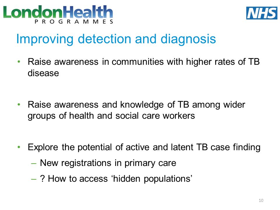 Improving detection and diagnosis Raise awareness in communities with higher rates of TB disease Raise awareness and knowledge of TB among wider group