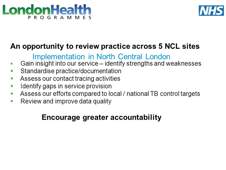 Implementation in North Central London An opportunity to review practice across 5 NCL sites Gain insight into our service – identify strengths and wea
