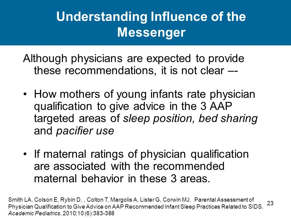 23 Understanding Influence of the Messenger Although physicians are expected to provide these recommendations, it is not clear –- How mothers of young