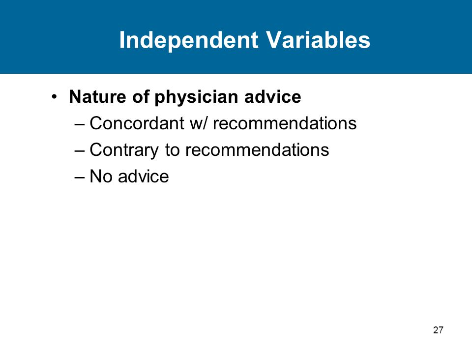 27 Independent Variables Nature of physician advice –Concordant w/ recommendations –Contrary to recommendations –No advice