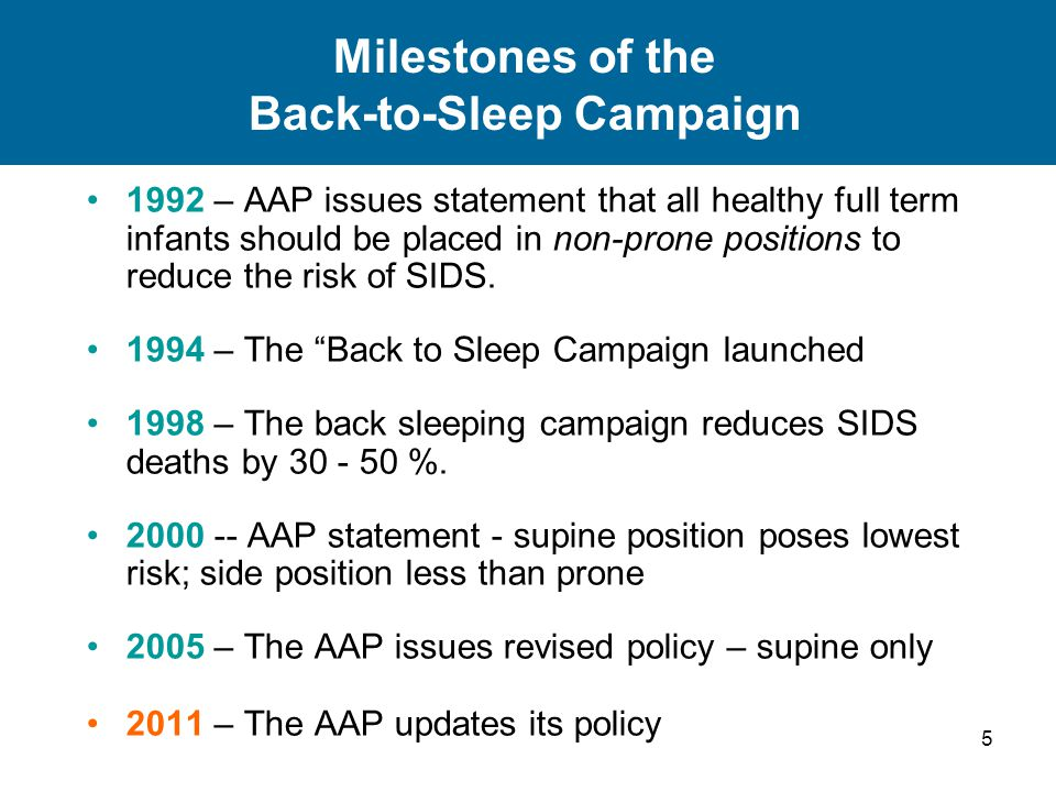 5 Milestones of the Back-to-Sleep Campaign 1992 – AAP issues statement that all healthy full term infants should be placed in non-prone positions to r