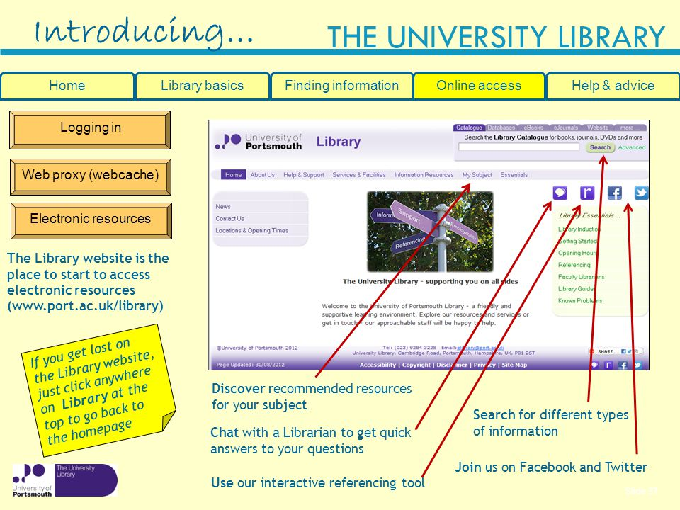 Slide 37 THE UNIVERSITY LIBRARY Logging in Web proxy (webcache) Electronic resources Introducing… HomeLibrary basicsHelp & adviceOnline accessFinding information Search for different types of information The Library website is the place to start to access electronic resources (www.port.ac.uk/library) Join us on Facebook and Twitter If you get lost on the Library website, just click anywhere on Library at the top to go back to the homepage Discover recommended resources for your subject Use our interactive referencing tool Chat with a Librarian to get quick answers to your questions