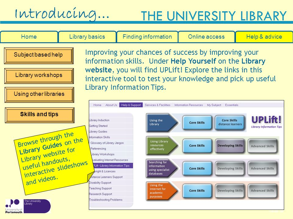 Slide 39 THE UNIVERSITY LIBRARY Subject based help Library workshops Using other libraries Introducing… HomeLibrary basicsHelp & adviceOnline accessFinding information Improving your chances of success by improving your information skills.