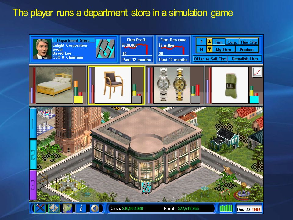 The player runs a department store in a simulation game