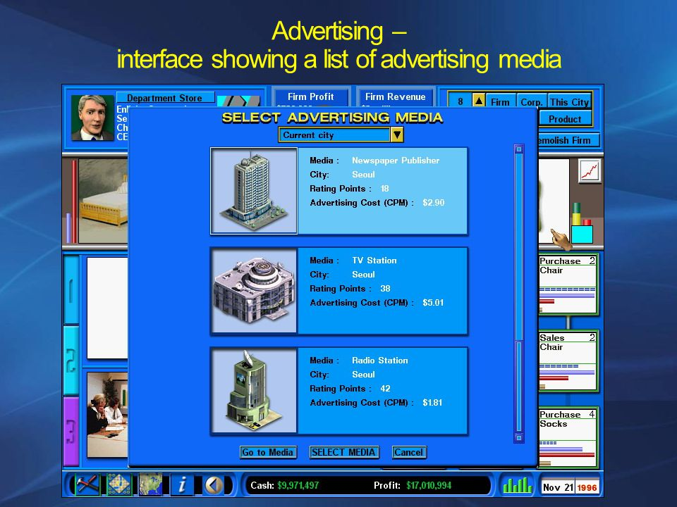 Advertising – interface showing a list of advertising media