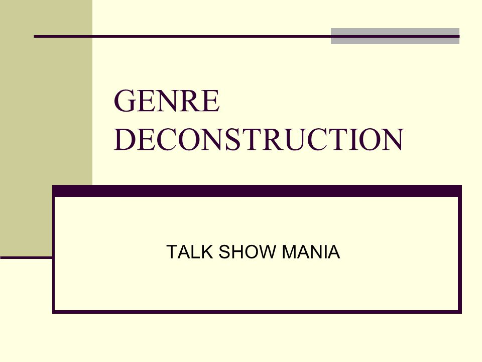 Genre Formula Length: one hour Setting: interior studio, desk, couch, chair, roving host, live audience, panelists Characters: Strong, charismatic host who is able to draw audience members and guests out while guiding them through an unscripted discussion Guests who are paid to be on the show, or accepted an invitation to be on the show, or requested to be on the show Experts who diagnose and provide remedies for troubled guests