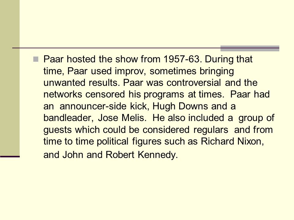 Paar hosted the show from 1957-63.