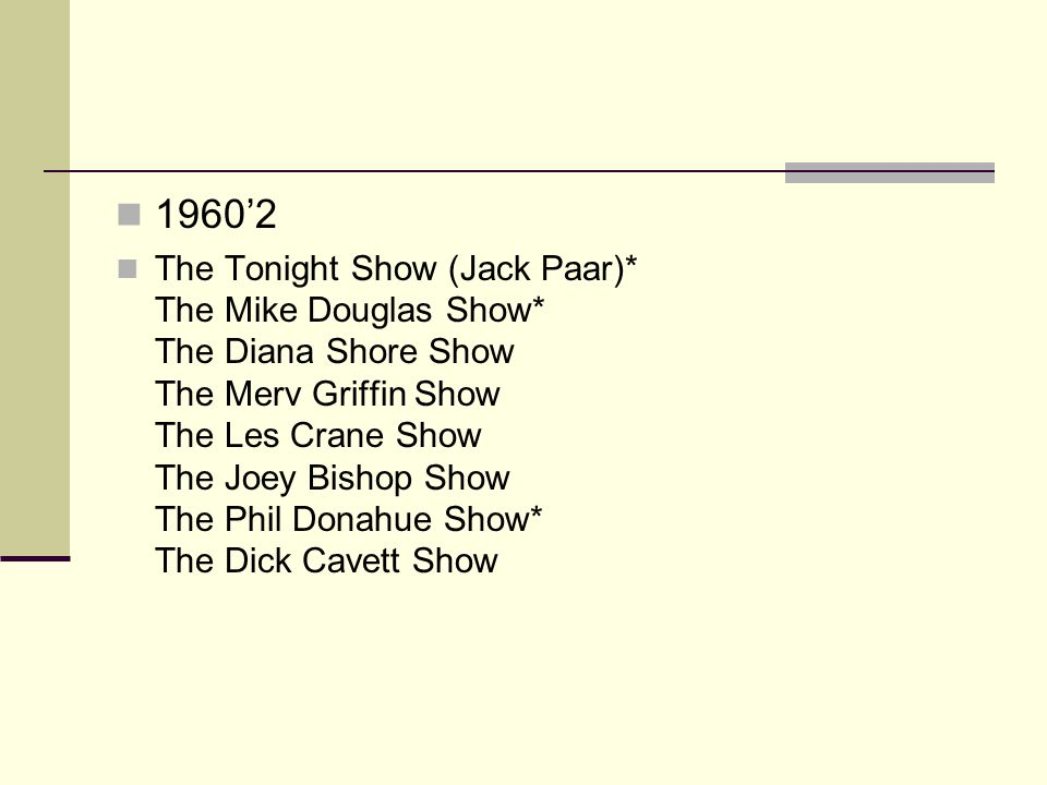 1970s The Dick Cavett Show The Tonight Show (Johnny Carson)* Jack Paar Tonite Tomorrow The Phil Donahue Show* The Mike Douglas Show Good Morning America*