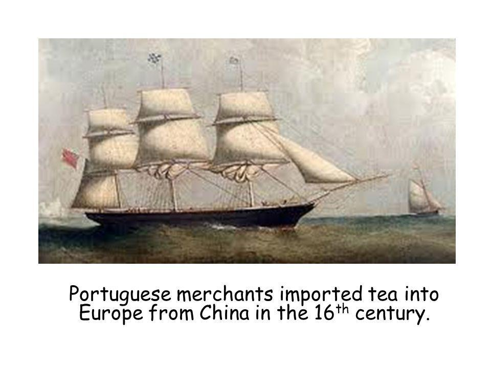 Portuguese merchants imported tea into Europe from China in the 16 th century.