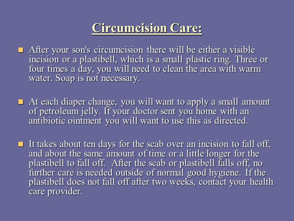 Circumcision Care: After your son's circumcision there will be either a visible incision or a plastibell, which is a small plastic ring. Three or four