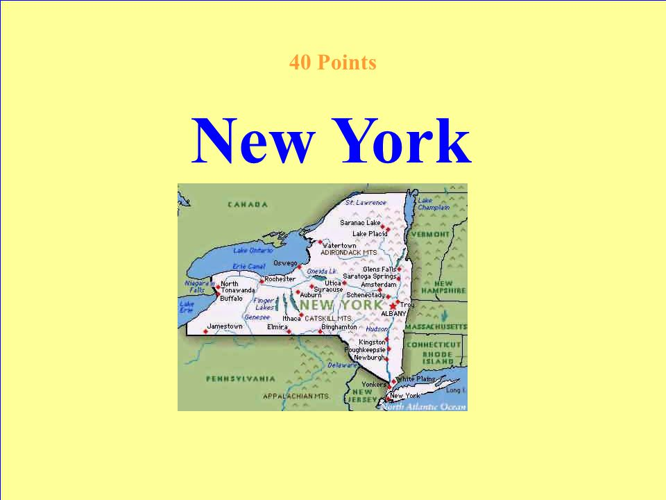 This state is called the Empire State; it has the same name of a city 40 Points Answer