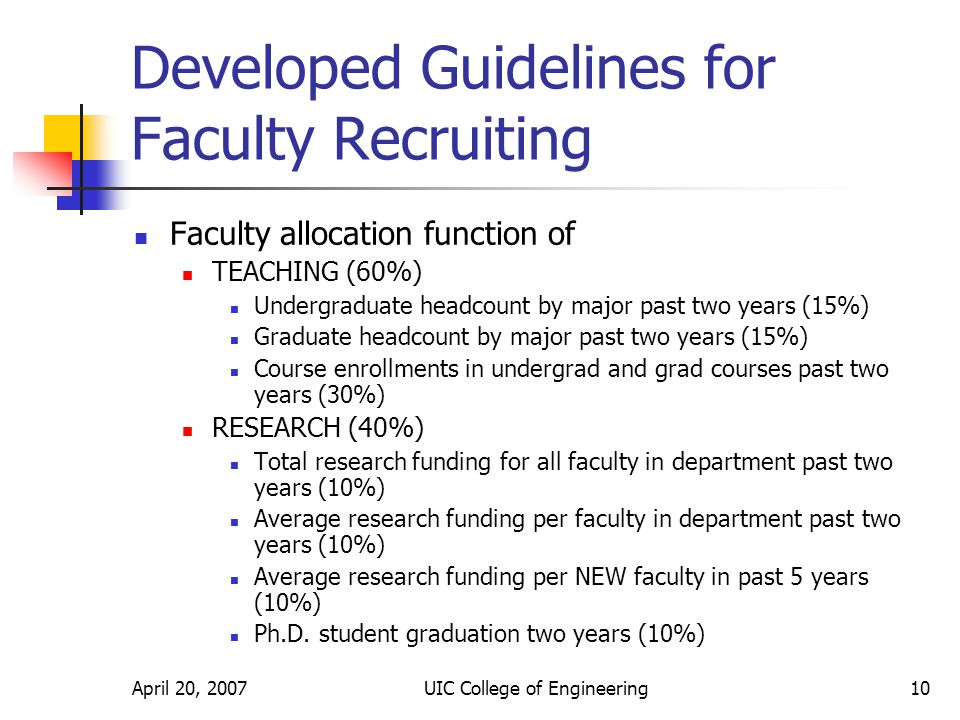 April 20, 2007UIC College of Engineering10 Developed Guidelines for Faculty Recruiting Faculty allocation function of TEACHING (60%) Undergraduate headcount by major past two years (15%) Graduate headcount by major past two years (15%) Course enrollments in undergrad and grad courses past two years (30%) RESEARCH (40%) Total research funding for all faculty in department past two years (10%) Average research funding per faculty in department past two years (10%) Average research funding per NEW faculty in past 5 years (10%) Ph.D.