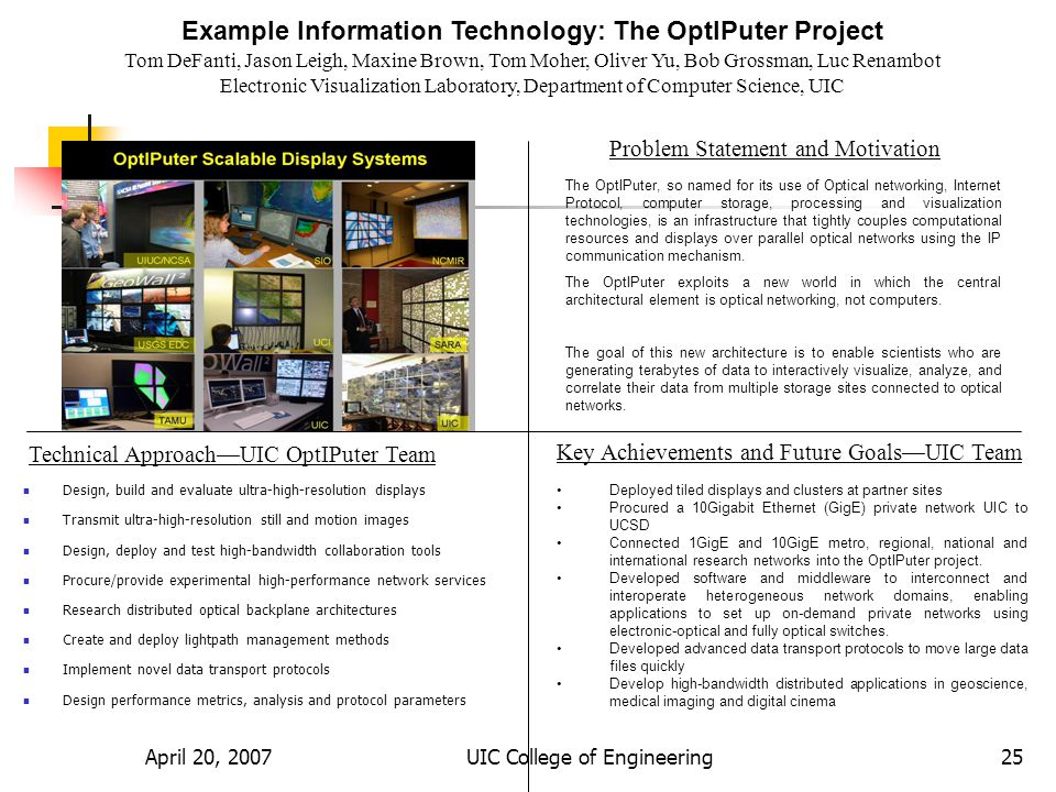 April 20, 2007UIC College of Engineering25 Example Information Technology: The OptIPuter Project Tom DeFanti, Jason Leigh, Maxine Brown, Tom Moher, Oliver Yu, Bob Grossman, Luc Renambot Electronic Visualization Laboratory, Department of Computer Science, UIC Problem Statement and Motivation Technical ApproachUIC OptIPuter Team Key Achievements and Future GoalsUIC Team The OptIPuter, so named for its use of Optical networking, Internet Protocol, computer storage, processing and visualization technologies, is an infrastructure that tightly couples computational resources and displays over parallel optical networks using the IP communication mechanism.