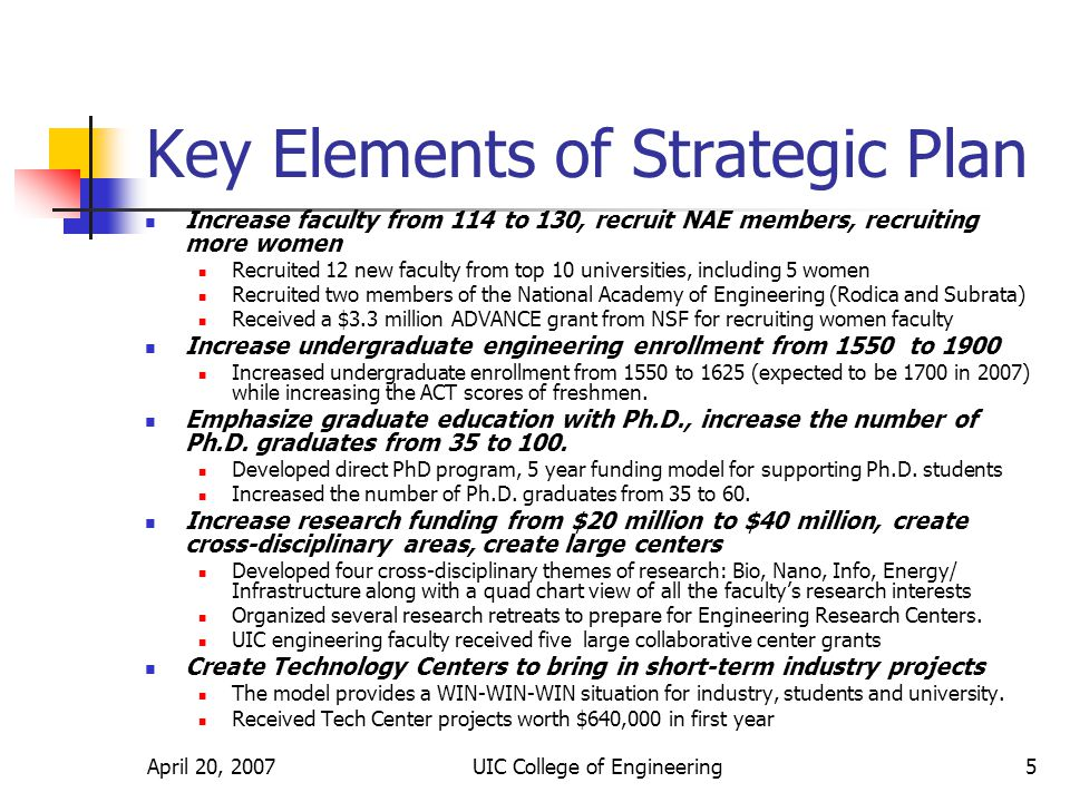 April 20, 2007UIC College of Engineering6 Faculty Action Plan Increase faculty size from 114 to 130 faculty Allocate faculty resources based on enrollment, research funding, Ph.D.