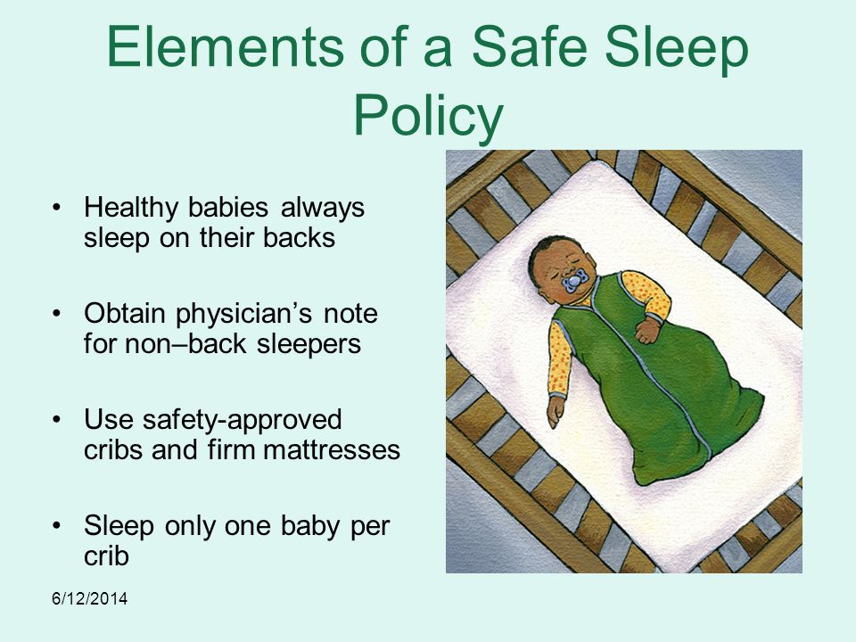 6/12/2014 Elements of a Safe Sleep Policy Healthy babies always sleep on their backs Obtain physicians note for non–back sleepers Use safety-approved cribs and firm mattresses Sleep only one baby per crib
