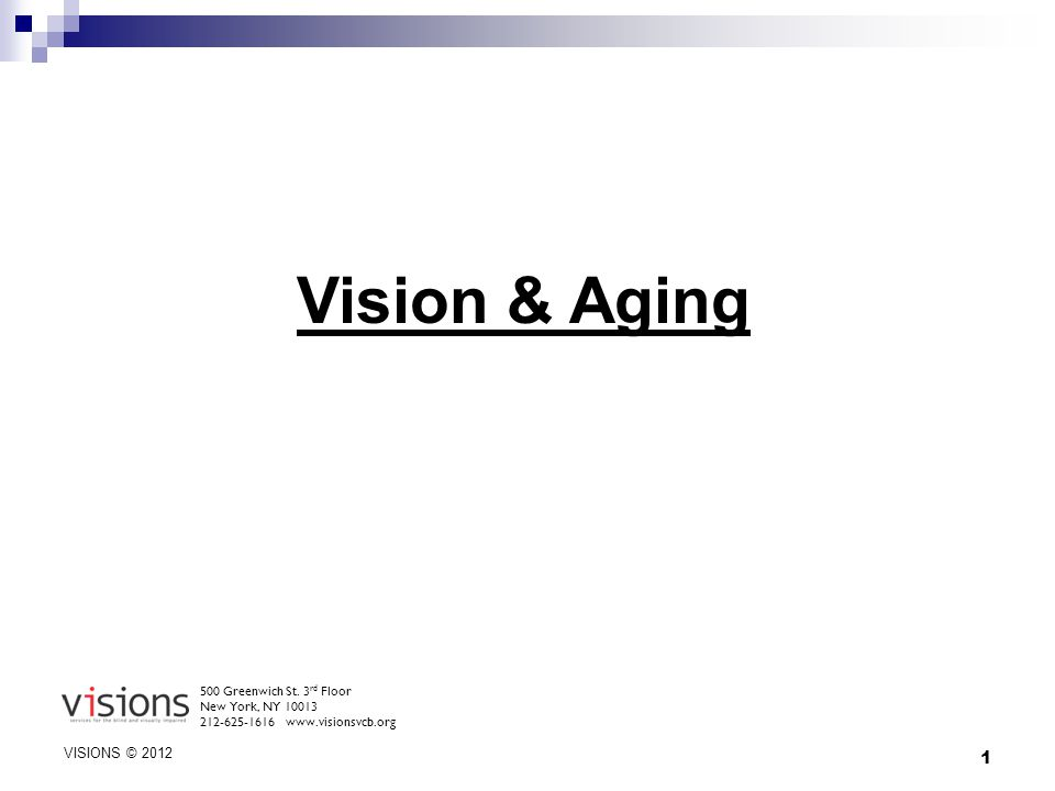1 Vision & Aging 500 Greenwich St. 3 rd Floor New York, NY 10013 212-625-1616 www.visionsvcb.org VISIONS © 2012