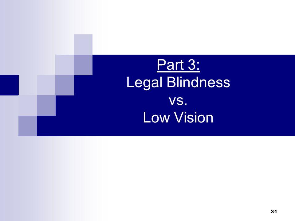 31 Part 3: Legal Blindness vs. Low Vision