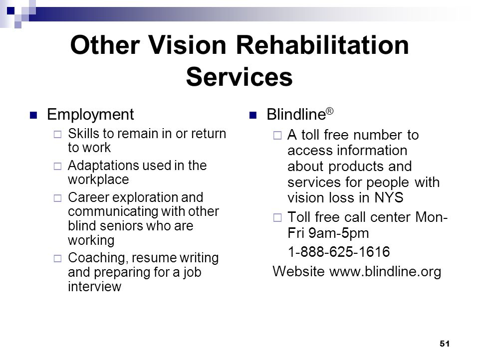 51 Other Vision Rehabilitation Services Employment Skills to remain in or return to work Adaptations used in the workplace Career exploration and comm