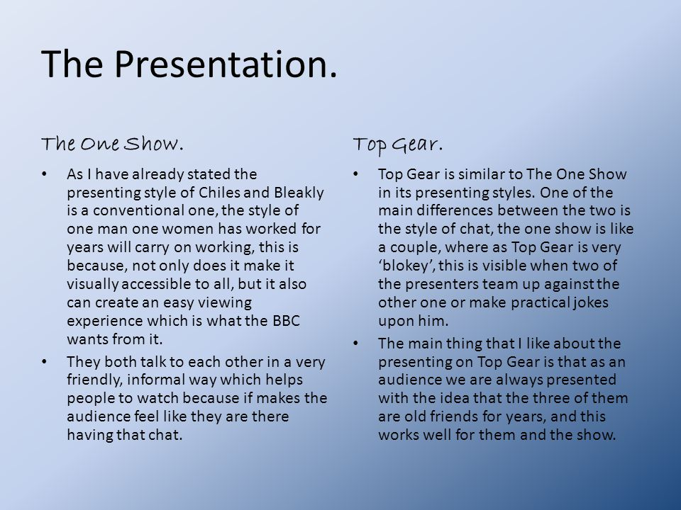 The Presentation. The One Show.
