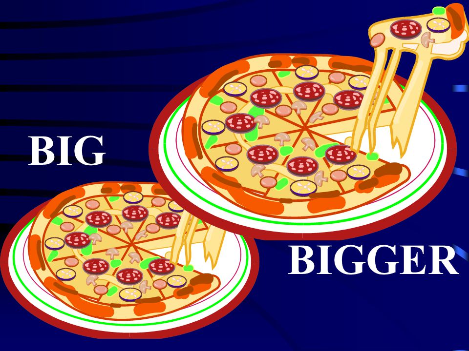 Its a pizza ! BIG adjective