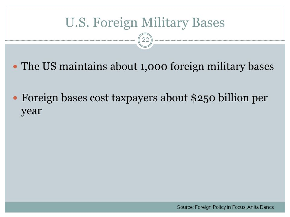 U.S. Foreign Military Bases The US maintains about 1,000 foreign military bases Foreign bases cost taxpayers about $250 billion per year Source: Forei