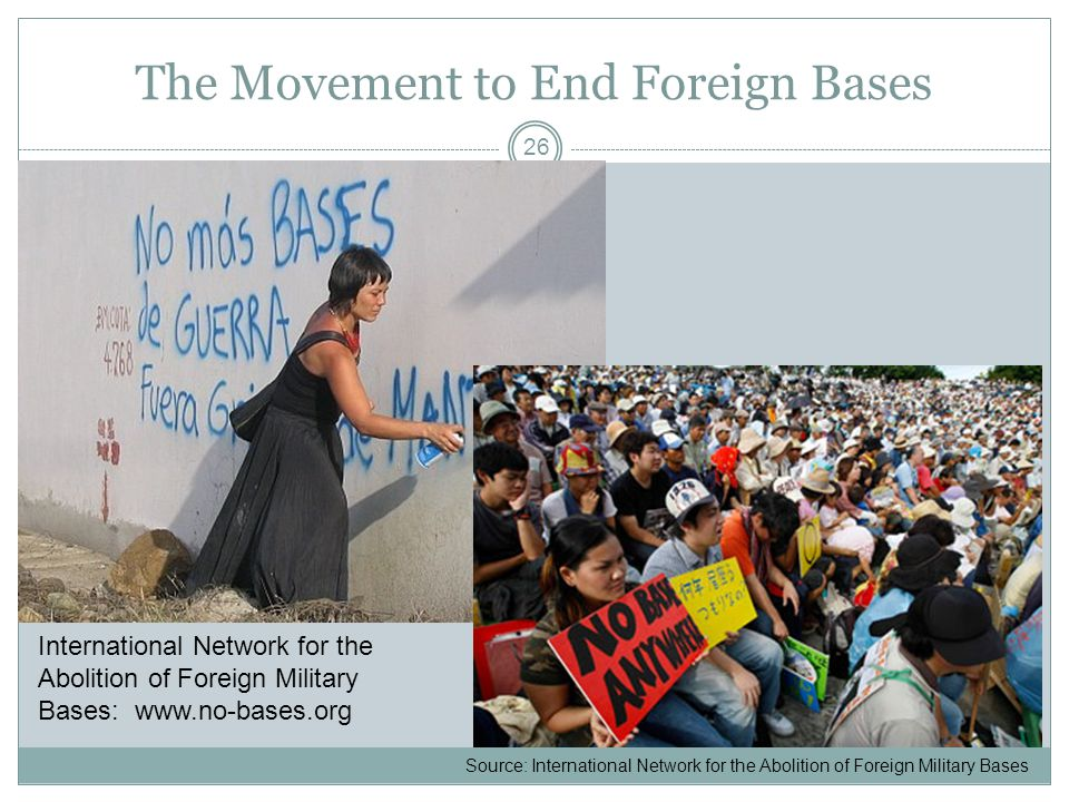 The Movement to End Foreign Bases 26 Source: International Network for the Abolition of Foreign Military Bases International Network for the Abolition