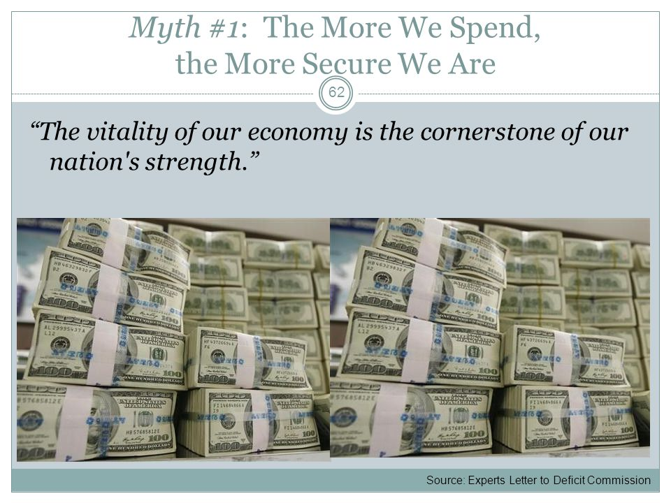 Myth #1: The More We Spend, the More Secure We Are The vitality of our economy is the cornerstone of our nation's strength. 62 Source: Experts Letter