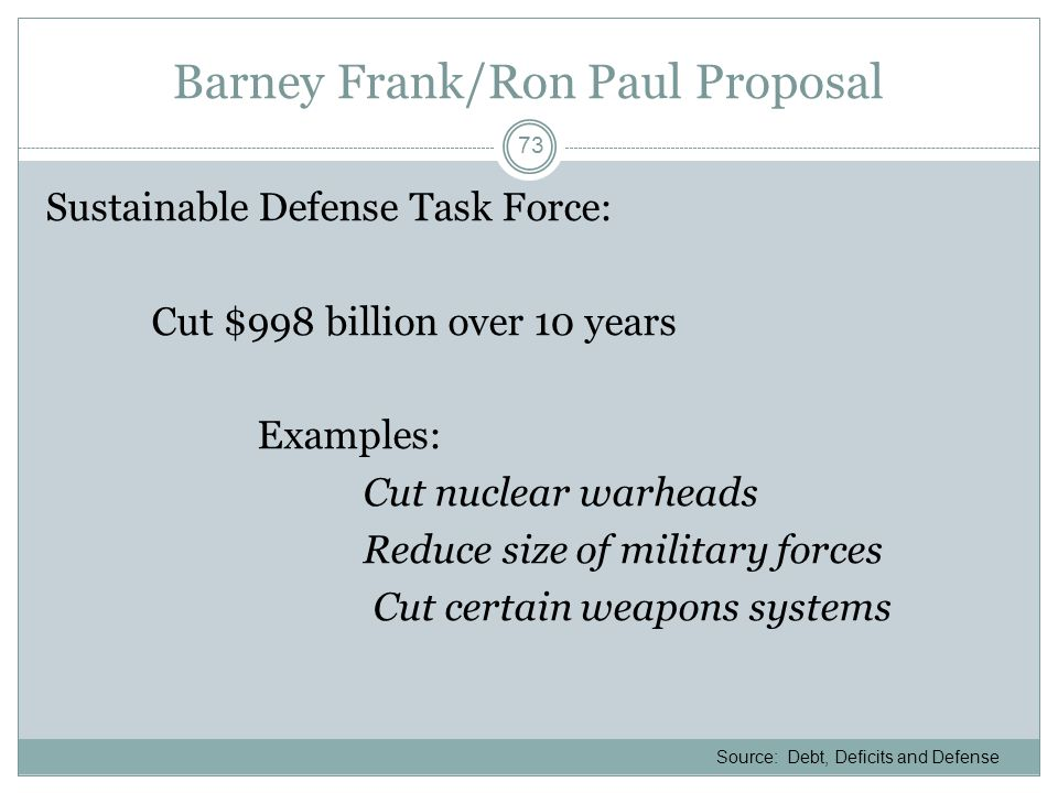 Barney Frank/Ron Paul Proposal Sustainable Defense Task Force: Cut $998 billion over 10 years Examples: Cut nuclear warheads Reduce size of military f