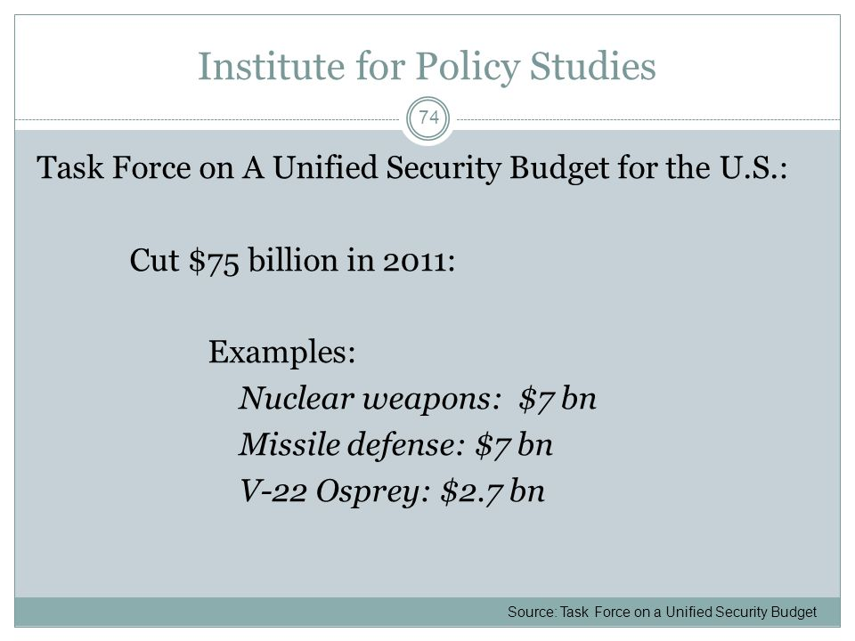 Institute for Policy Studies Task Force on A Unified Security Budget for the U.S.: Cut $75 billion in 2011: Examples: Nuclear weapons: $7 bn Missile d
