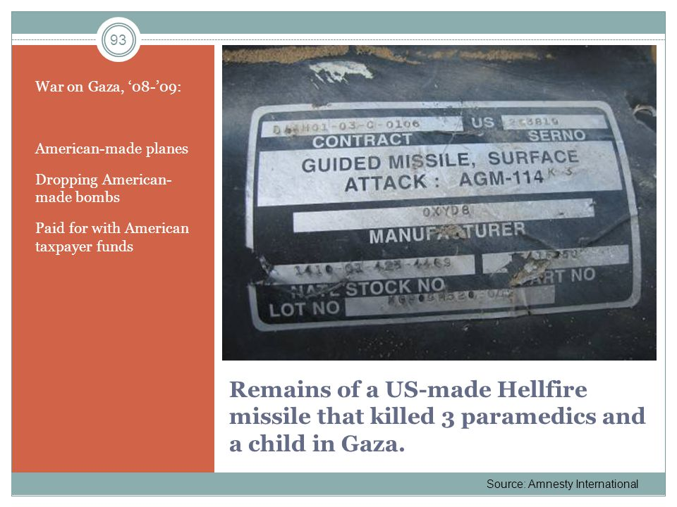 Remains of a US-made Hellfire missile that killed 3 paramedics and a child in Gaza. War on Gaza, 08-09: American-made planes Dropping American- made b